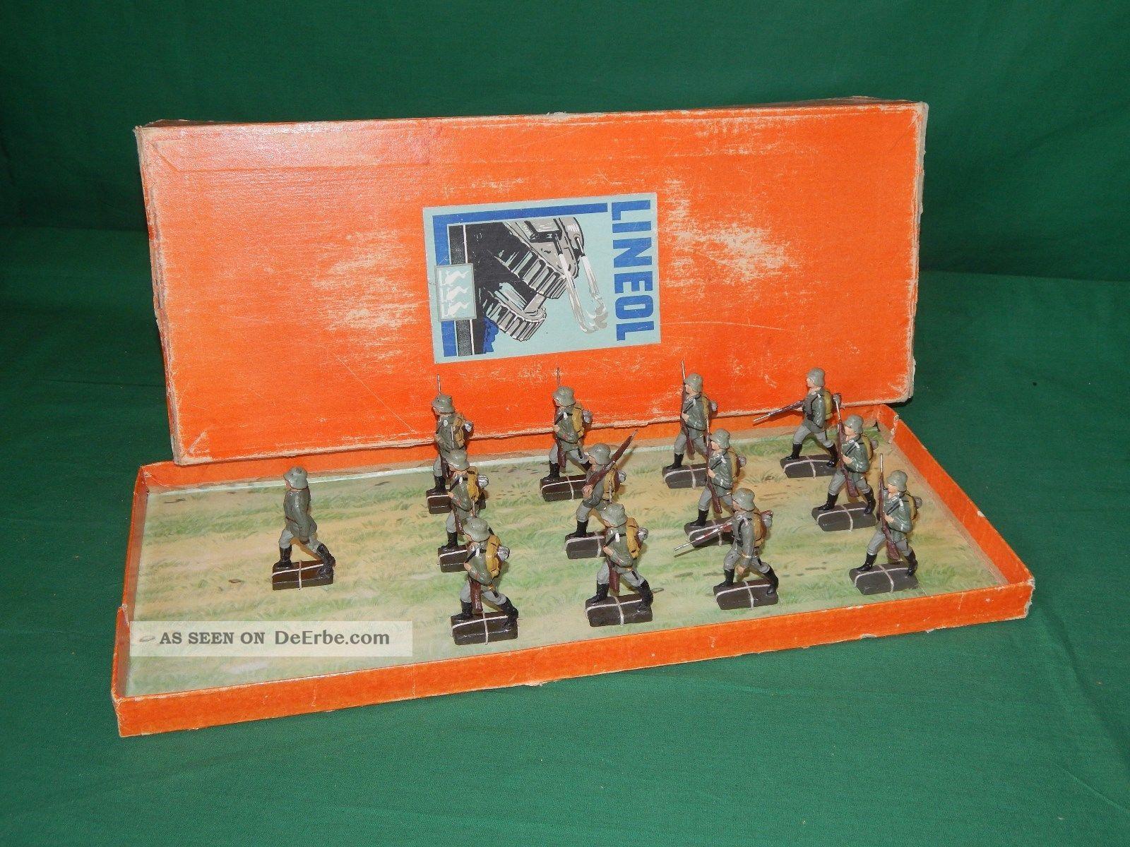 Lineol Rarität Trupp Auf Marsch Toys Soldiers Heer Composition Gefertigt vor 1945 Bild