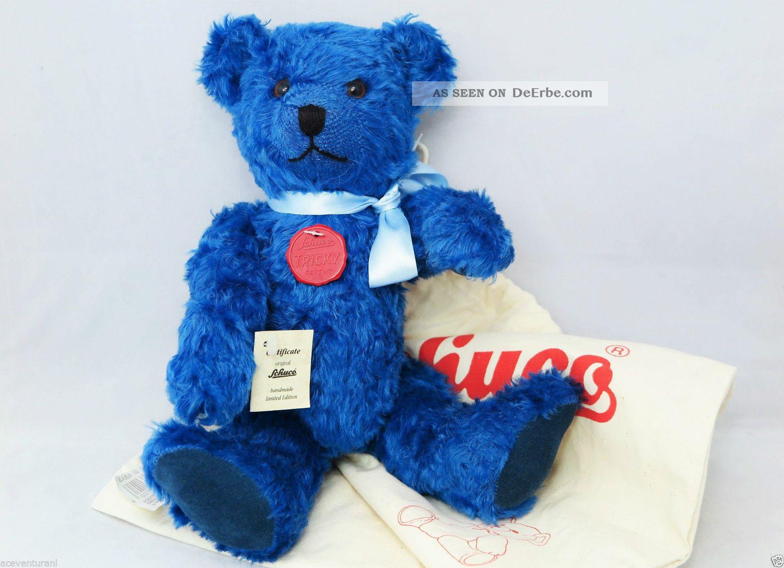 Schuco Tricky Blau Bär Nr.  09052 - Lim.  Ed.  388/500 - In Ovp (1997) Blue Bear Stofftiere & Teddybären Bild