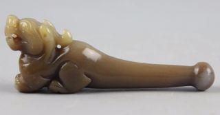 Chinese Hetian Jade Carved Jade Pipe Bild