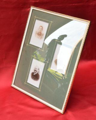 1b.  Großer Antiker Bilderrahmen Rahmen Jugendstil Bronze Gewölbtes Glas Bild