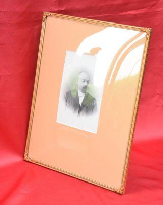 1.  Großer Antiker Bilderrahmen Rahmen Jugendstil Bronze Gewölbtes Glas Bild