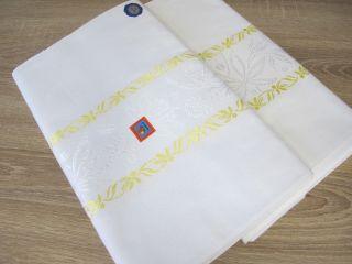 2 Betttücher Bettlaken Weiß Mit Gelber Webkante Pusteblume Unbenutzt 16 Bild