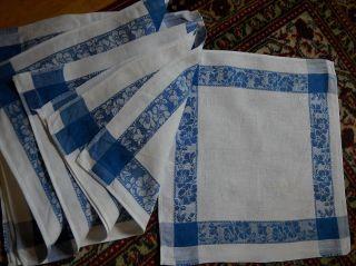 6 X Serviette Servietten Blaue Bordüre 80jahre Alt 30/28cm P8.  6/4 Bild