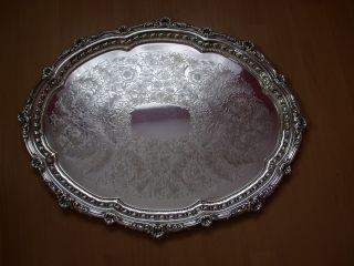 Großer Silbertablett Vesilbert Ziseliert Antik Bild