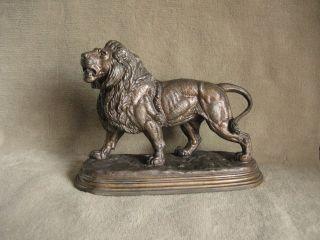 Alte Figur Löwe Signiert Bild