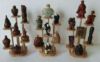3 Blank Holz Stand Mit 21 X Display Fur Netsuke /snuff Bottle/miniatuur Bild