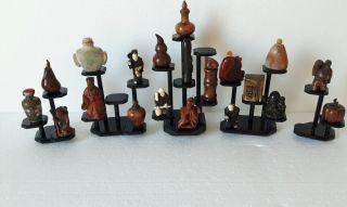 5 X Schwarz Holz Stand Mit 23 X Display Fur Netsuke /snuff Bottle/miniatuur Bild