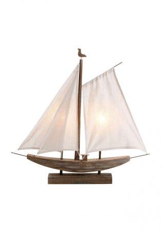 Deko Lampe Segelboot Tischleuchte Braun Aus Holz Ca.  70 X 62,  5 X 11 Cm Eek A, Bild