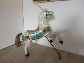 Antikes Niederländisch Karussellpferd.  Kirmes Pferd.  Holz.  Handbemalt 70 X 58 Cm Bild