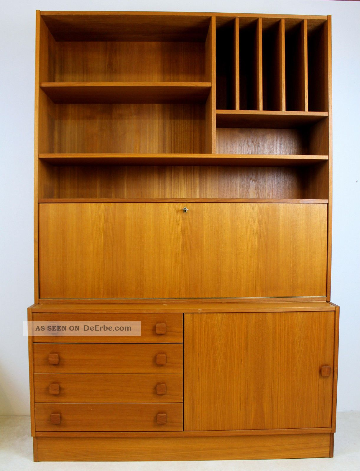 teak sekret r schrank vitrine kommode danish design domino denmark 50er 60er 70s. Black Bedroom Furniture Sets. Home Design Ideas