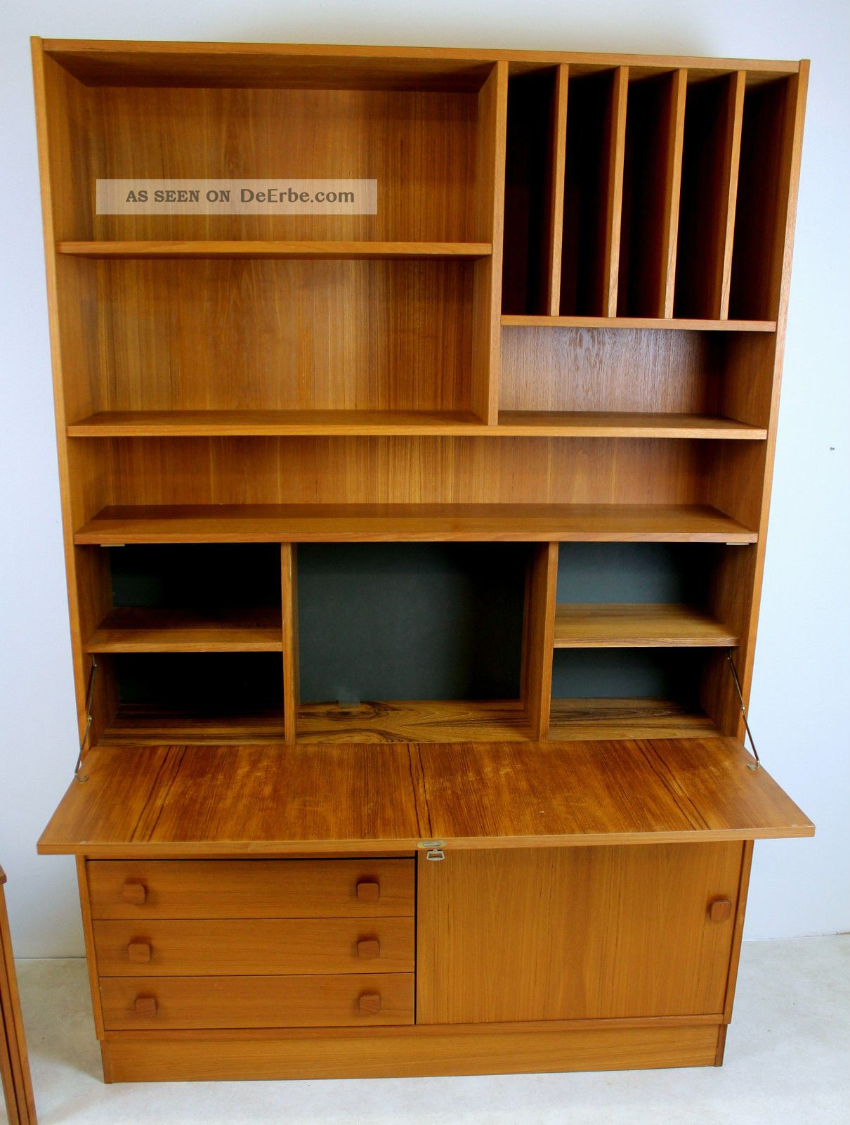 teak sekret r schrank vitrine kommode danish design domino. Black Bedroom Furniture Sets. Home Design Ideas