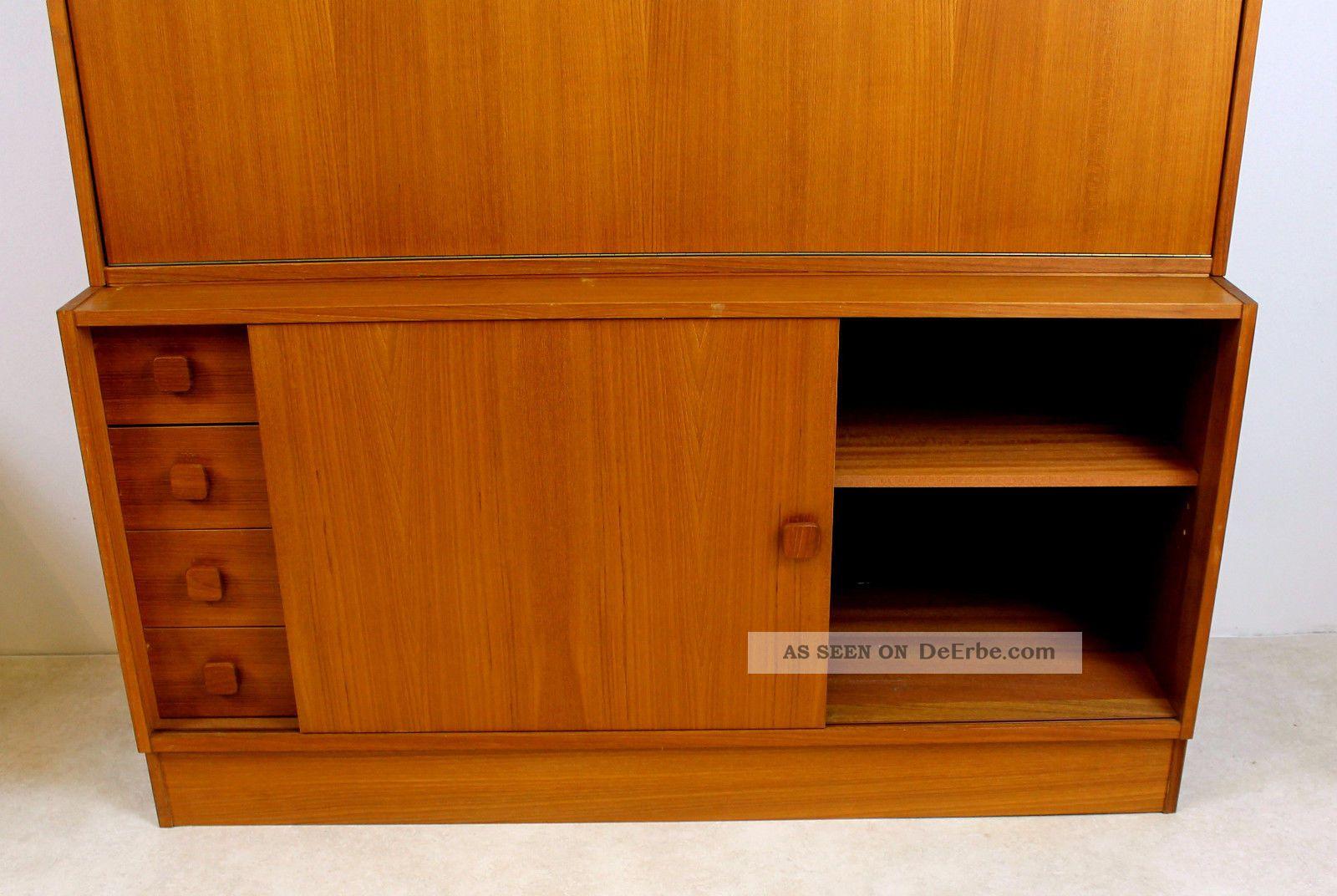 teak sekret r schrank vitrine kommode danish design domino. Black Bedroom Furniture Sets. Home Design Ideas