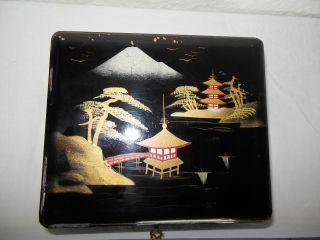 Antike Chinesische Holz Schatulle Mit Lackmalerei Wunderschön Bild