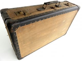 Antik Reisekoffer Holzkoffer,  Leder Überseekoffer Vintage Nostalgie Box Truhe Bild