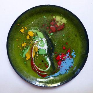 Emaille Untersetzer Teller,  60 - 70iger Jahre - Kult Handarbeit Grün Gelb Blau Rot Bild