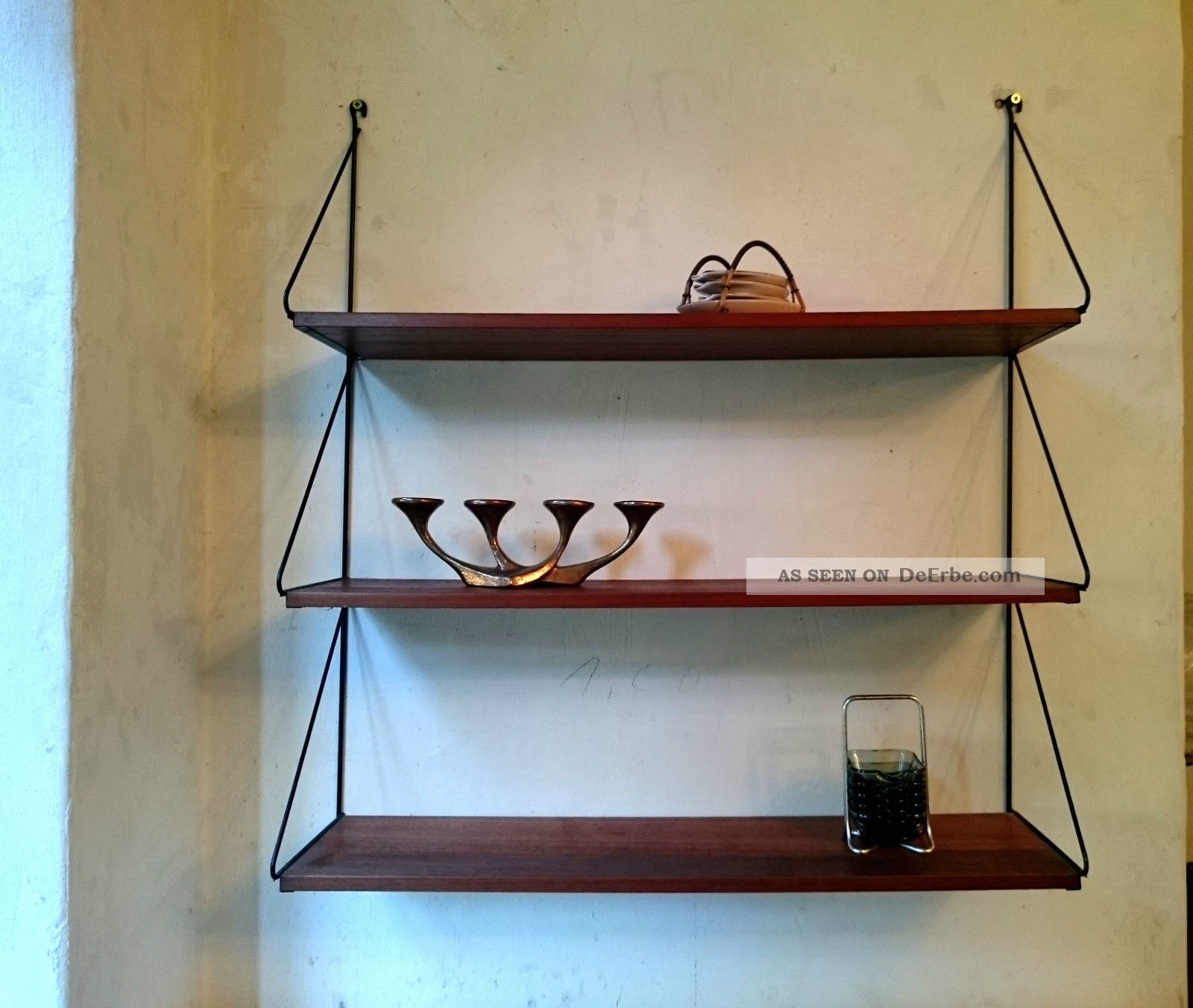 midcentury wandregal 50er 60er teak string ra 50s 60s vintage shelf. Black Bedroom Furniture Sets. Home Design Ideas