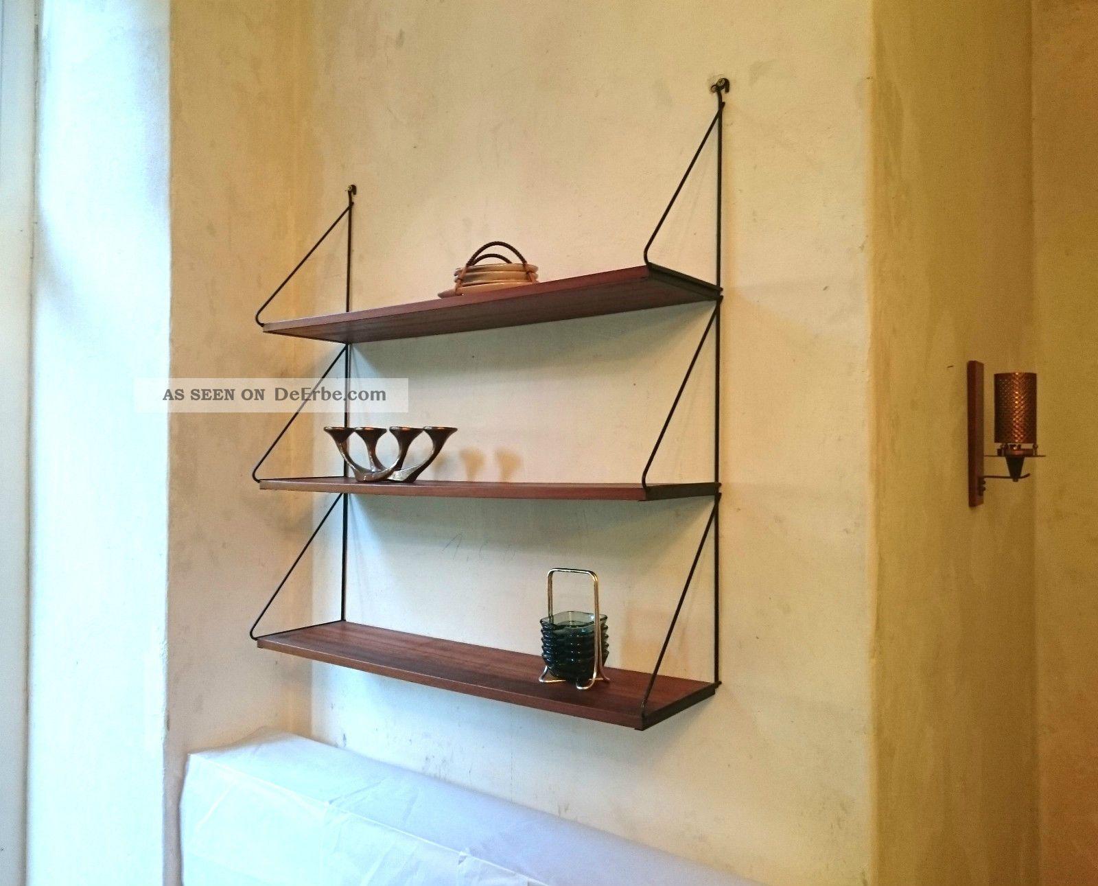 midcentury wandregal 50er 60er teak string ra 50s 60s vintage shelf. Black Bedroom Furniture Sets. Home Design Ideas