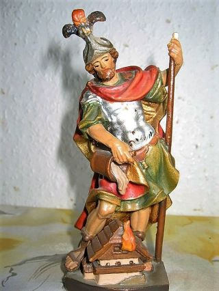 Skulptur Hl.  Florian Holzgeschnitzt Sehr Alte Handarbeit.  Holz Bild