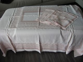 Tischdecke - Tafeldecke - M.  Passenden Servietten - Rosa - 160x130 Bild