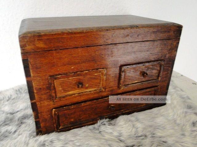 Antike Kleine Holz Kommode Art Deco Mini Schubladen Schrank