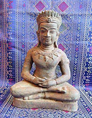 Bronze Statue,  Budddha In Der Dhyana Mudra Pose,  Mit Lotushut Ca 80 Jahre Alt. Bild
