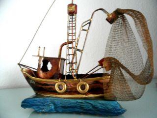 Fischkutter Schiffsmodell Florida Ana A.  D.  Usa Handarbeit 50er Skulptur Metall Bild