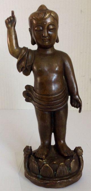 Alte Buddha (als Kind) Skulptur,  Wohl Bronze,  Stehend Mit Erhobenem Zeigefinger. Bild