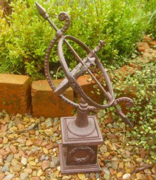 Garten Sonnenuhr Mit Sockel Gusseisen Antik Nostalgie Landhausstil Gartendeko Bild