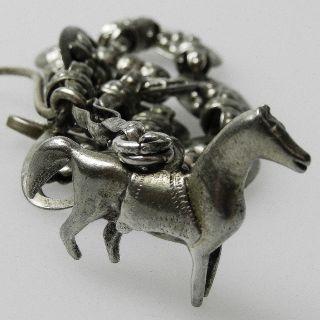 Uralte Silber Trachtenkette Mit Pferd - Charivari - Um Ca.  1850 - S4822 Bild