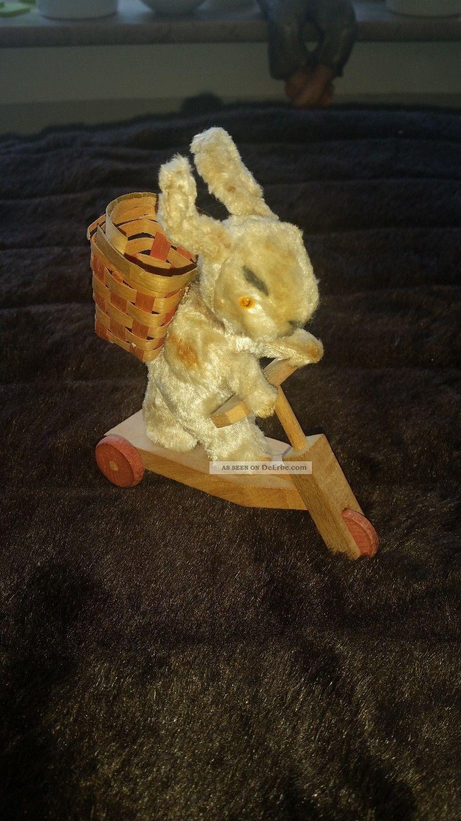 Schuco Hase Auf Roller Selten Um 1950 Stofftiere & Teddybären Bild