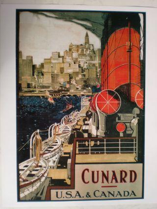 Maritim Plakat Poster Reederei Cunard Line,  Repro V.  Um 1920 - Rarität Bild