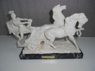 Vintage Ben Hur Statue Figur Auf Marmorsockel - Signiert A.  Santini Bild
