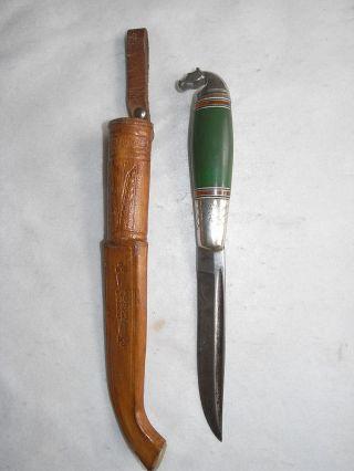 Altes Finnland Messer Signiert Finnenmesser Pferdekopf Jagdmesser Vintage Knife Bild