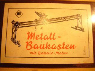 Metallbaukasten M.  Batteriemotor,  Ddr,  50erjahre,  Vem - Dresden Bild
