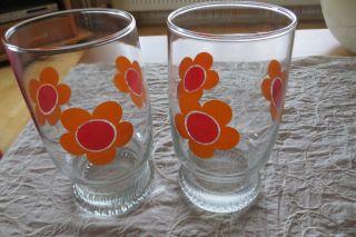 70er Jahre Gläser - Saftglas - 2 Stück - Prilblumen - 500ml - Bild