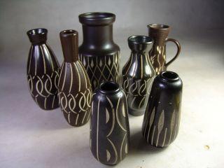 7 Stück Piesche & Reif Vase Ritzdekor Ddr Studiokeramik 50er 60er Jahre Bild