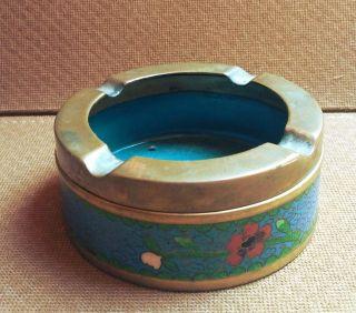 Alter Cloisonné Aschenbecher,  Wohl Asien,  Emailmalerei,  Messing,  Floral Verziert Bild