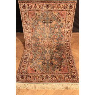 Traumhaft Fein Handgeknüpfter Orient Blumen Teppich Nain Sa Rug Carpet 95x170cm Bild