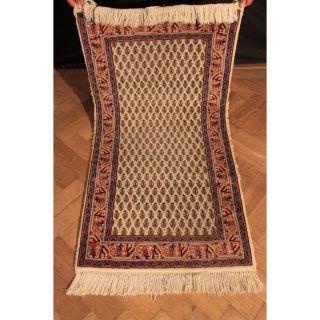 Schöner Handgeknüpfter Orient Palast Teppich Blumen Mir Carpet Old Rug 70x140cm Bild