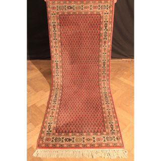 Schöner Handgeknüpfter Orient Palast Teppich Blumen Mir Carpet Old Rug 210x80cm Bild