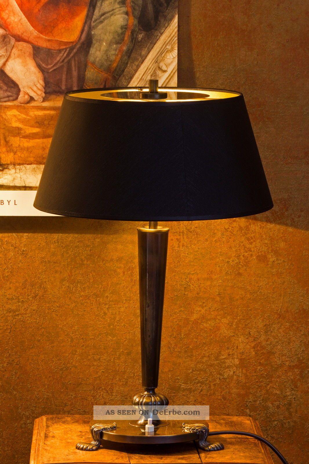 bronze lampe tischlampe stilisierte tatzenf e schwarzer. Black Bedroom Furniture Sets. Home Design Ideas