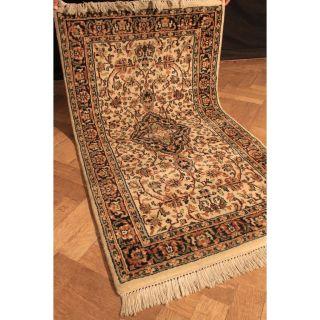 Schöner Handgeknüpfter Blumen Teppich Herati Nain Kum Carpet Tappeto 160x90cm Bild