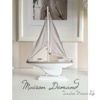 Deko Segelboot Maritim,  42 Cm,  Holz Weiß,  In Weiß - Beige Bild