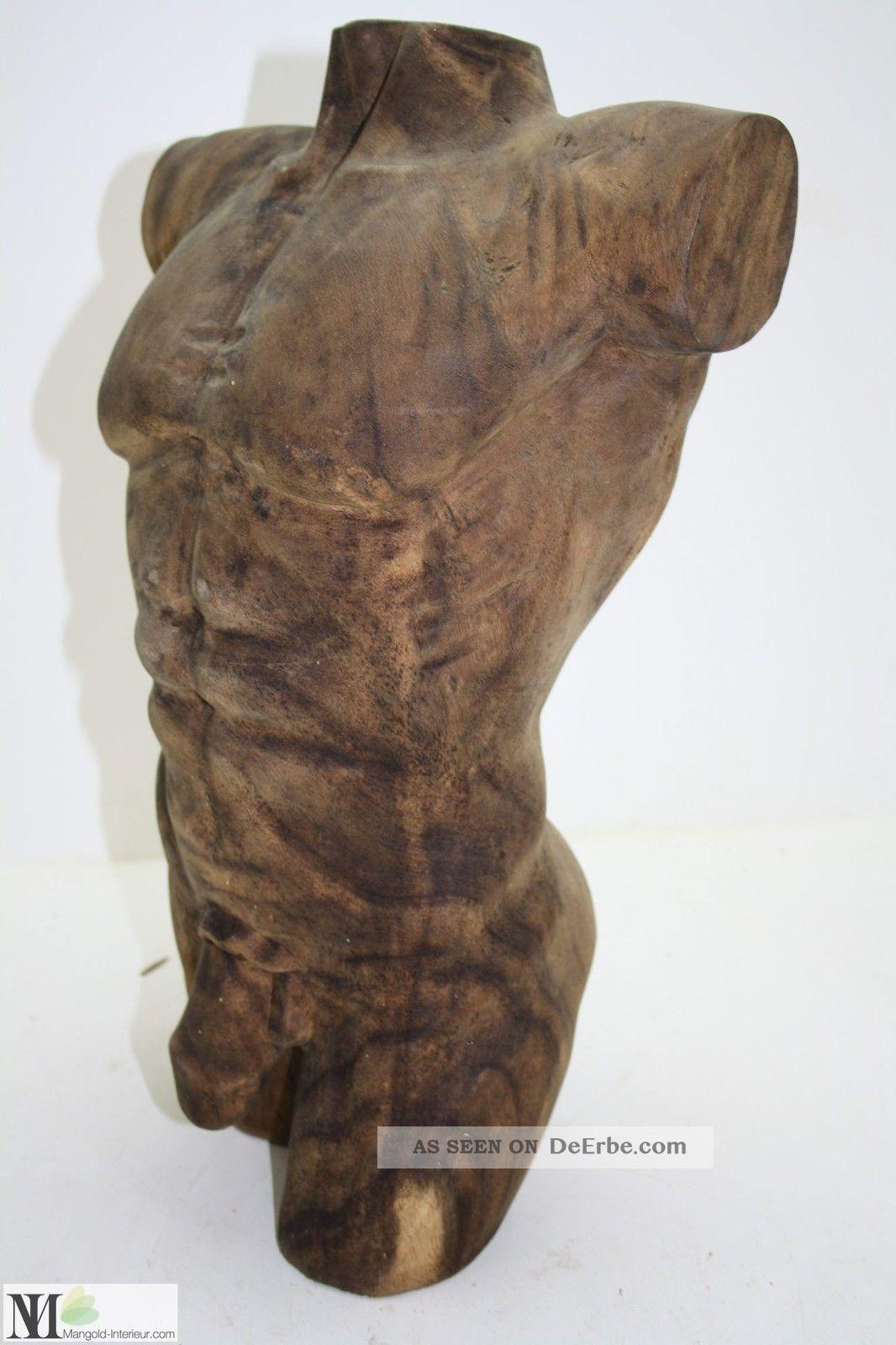 Skulptur Mann / Dekoration / Plastik/ Holz / Figur/ Sculpture Men Torso /  4147