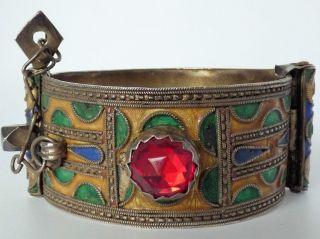 Orientalischer Armreifen Um 1900 Vermutlich Mit Glasemaille Rote Steine Bild