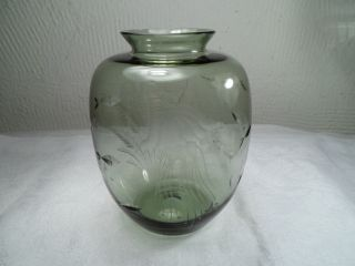 60er Jahre Carl Rotter Glas Grau Grün Bauchige Vase Fische Qualle Seepferd 10 Cm Bild