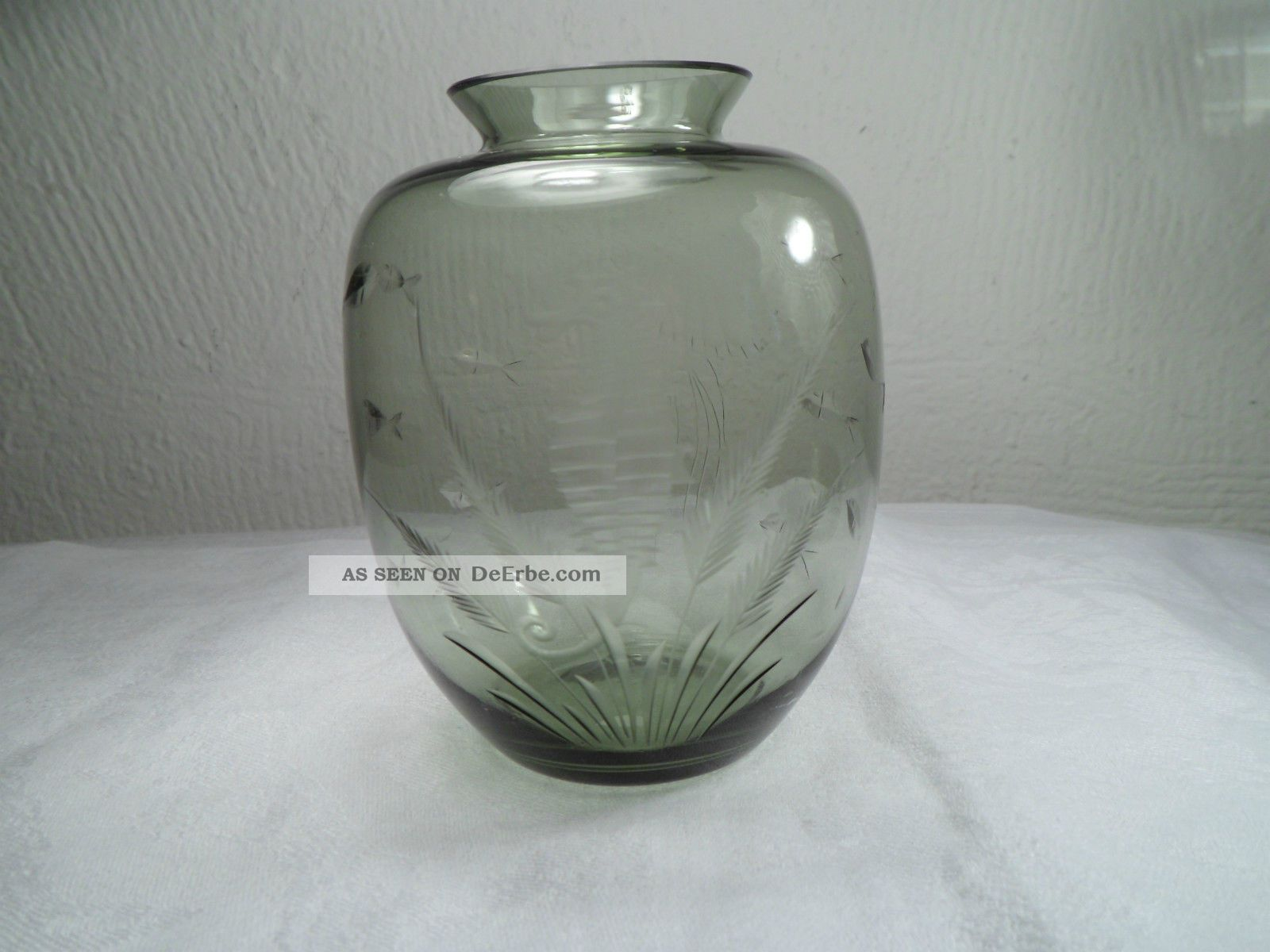 60er jahre carl rotter glas grau gr n bauchige vase fische qualle seepferd 10 cm. Black Bedroom Furniture Sets. Home Design Ideas