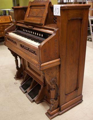 Harmonium,  Gründerzeit,  1890/1900,  Funktionstüchtig,  Beschnitzt,  Säulen,  11 Register Bild