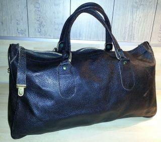 50er Jahre Einkaufstasche Echtleder Shopper Weekender Kleine Reisetasche Schwarz Bild