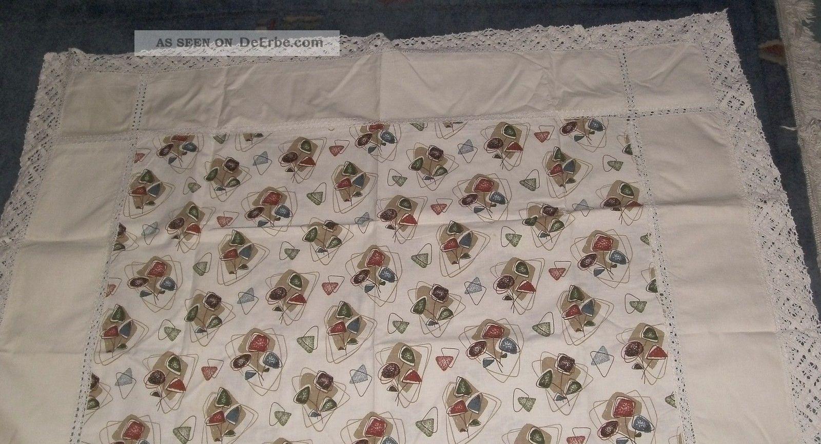 bunte tischdecke mit spitze 140 x 114cm baumwolle 50 60 iger jahre chabby chic. Black Bedroom Furniture Sets. Home Design Ideas